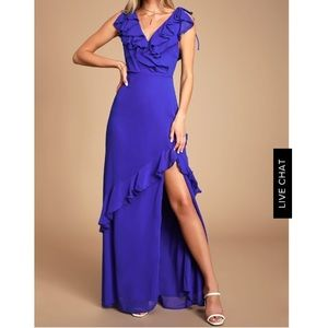 Lulus Royal Blue ruffle gown- size S